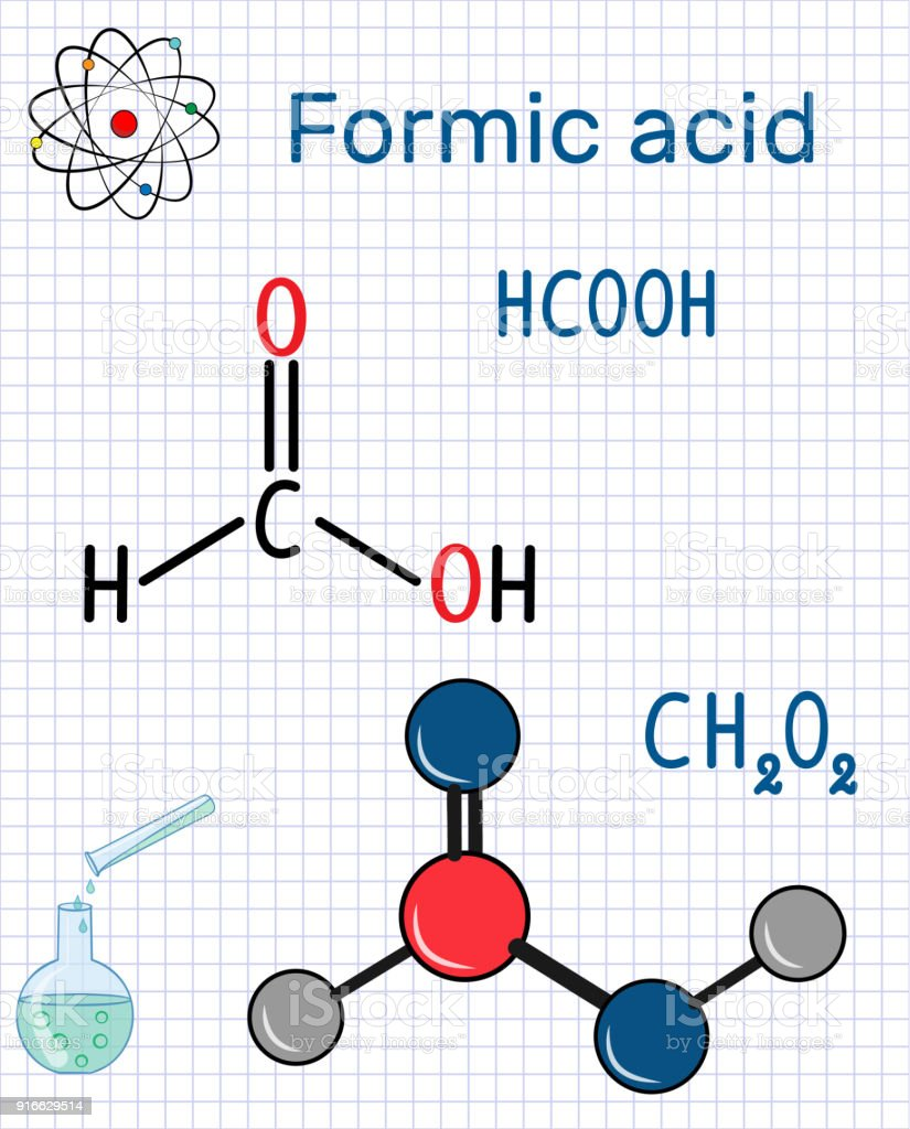 Formic acid (methanoic) molecule. Structural chemical formula and molecule model. Sheet of paper in a cage vector art illustration