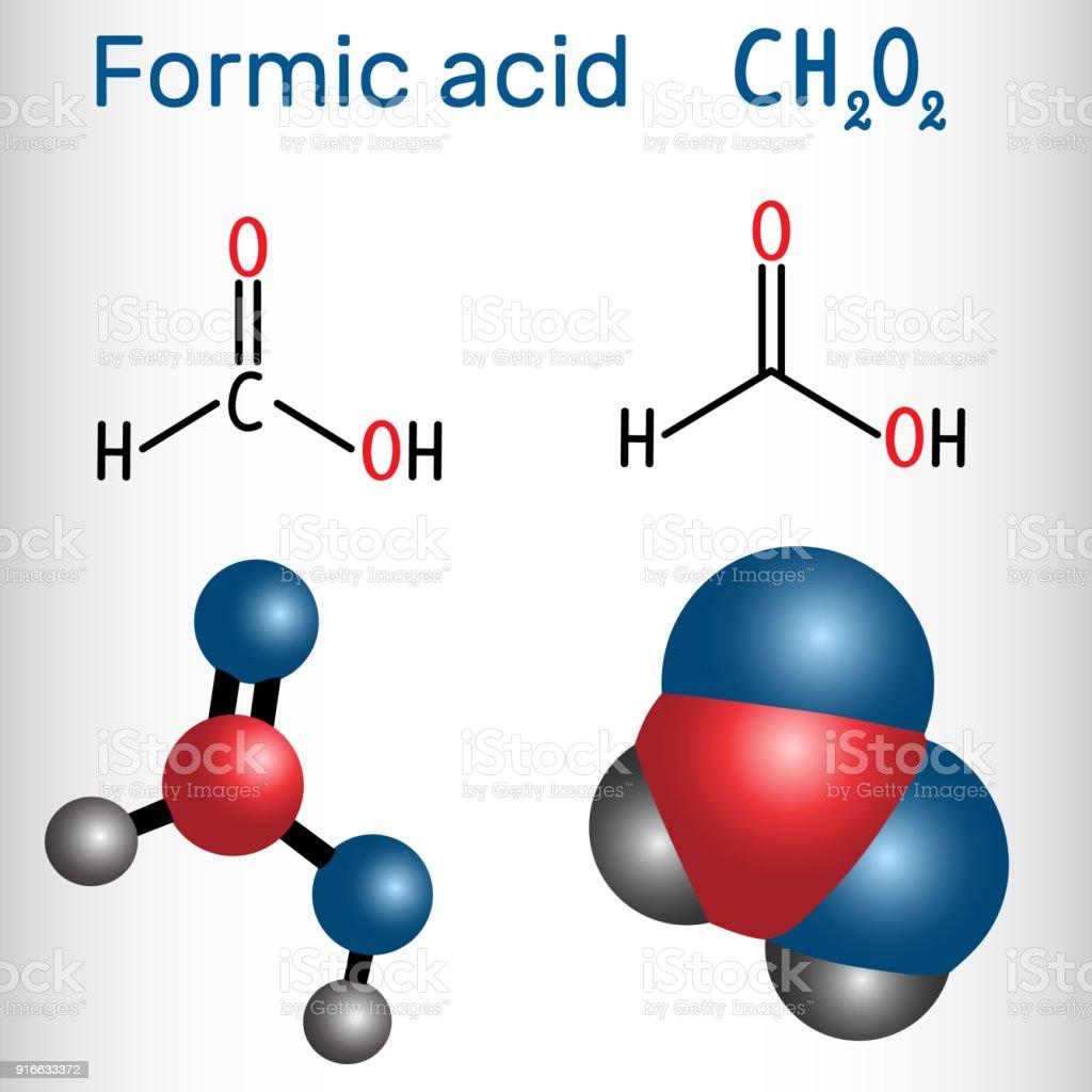 Formic acid (methanoic) molecule. Structural chemical formula and molecule model vector art illustration