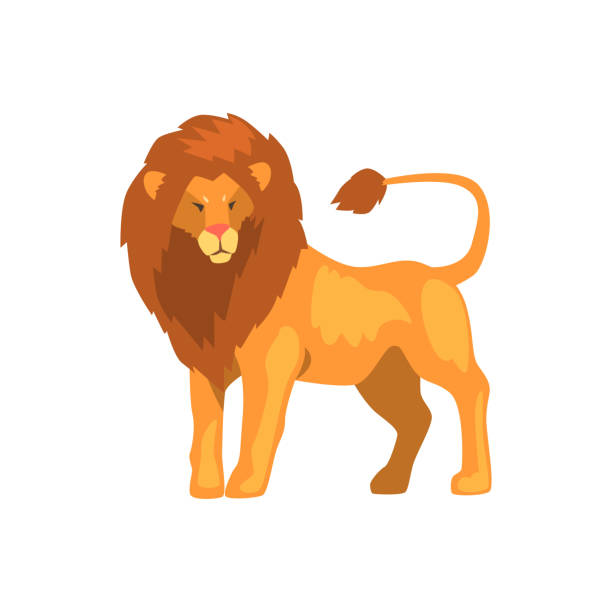 formidable lion, wild predatory animal vector illustration on a white background - lion stock illustrations, clip art, cartoons, & icons