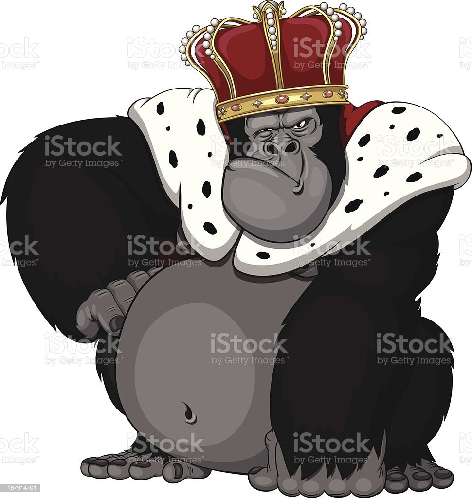 formidable monkey in a crown royalty-free stock vector art