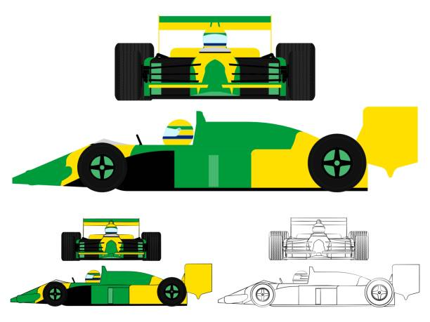formula 1 car. brazilian colors flag. - formula 1 stock illustrations