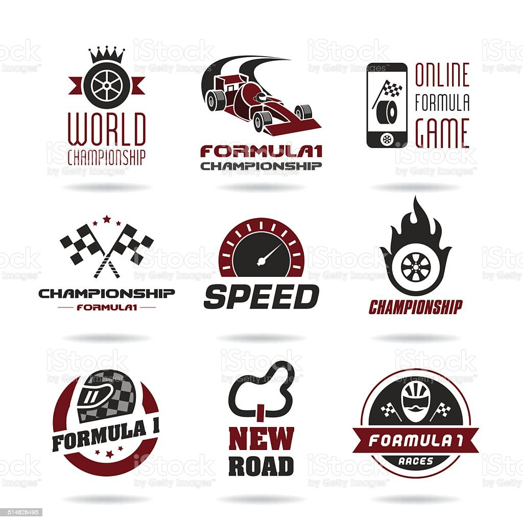 Formula 1 icon set, sport icons and sticker - 2 vector art illustration