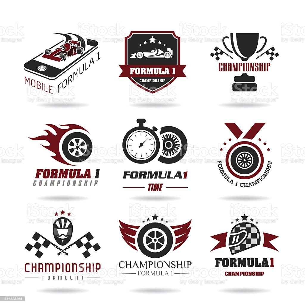 Formula 1 icon set, sport icons and sticker - 3 vector art illustration