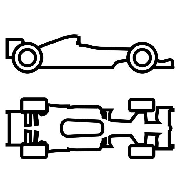 formula 1 line icon isolated on white background - formula 1 stock illustrations