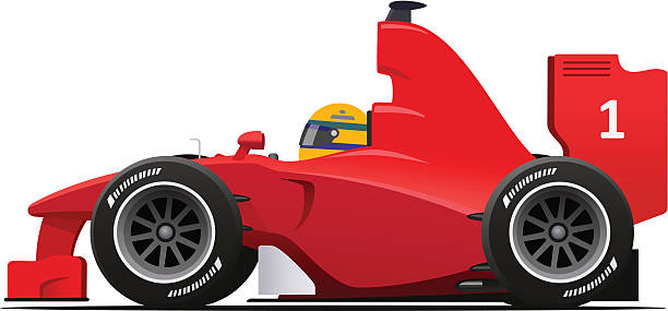 Formula 1 Racecar Red Formula 1 Red cartoon Sport Race Car Vector Illustration indy racing league indycar series stock illustrations