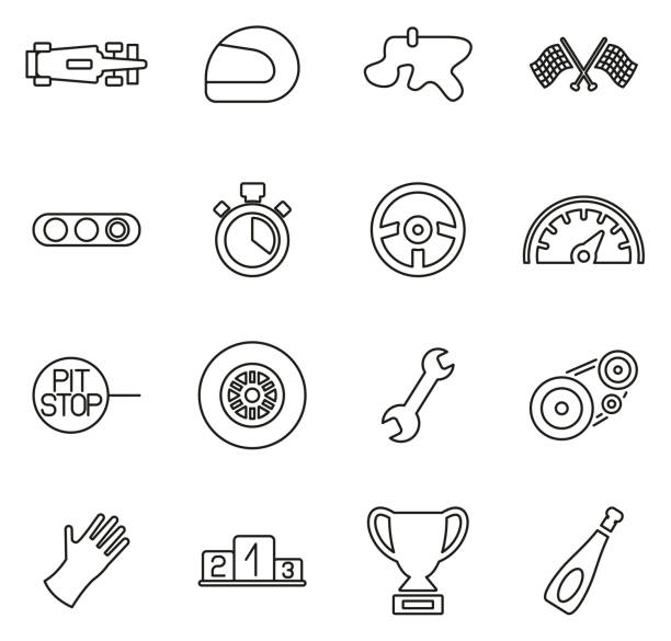 formula 1 racing icons thin line vector illustration set - formula 1 stock illustrations