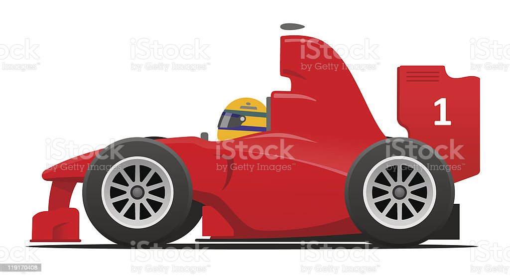 Formula 1 red race car vector art illustration