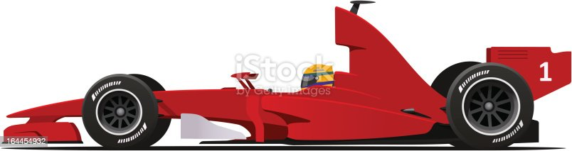 Sport Race Red Car Side View Cartoon Vector Illustration