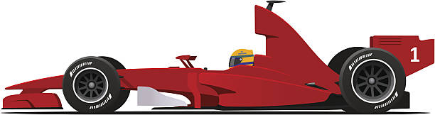 Formula 1 Sport Race Red Car Sport Race Red Car Side View Cartoon Vector Illustration indy racing league indycar series stock illustrations