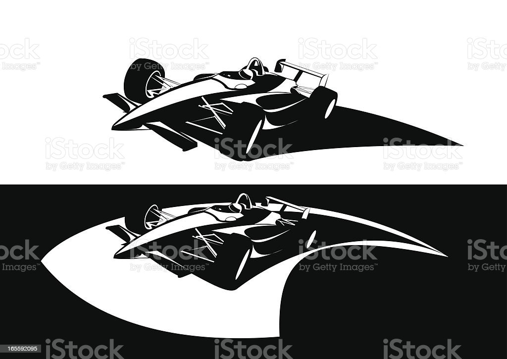 Formula Indy racing car two versions avaliable vector art illustration