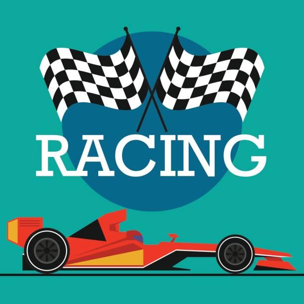 formula one / grand prix racing poster. vector illustration - formula 1 stock illustrations