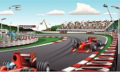 vector illustration of Formula one racing cars