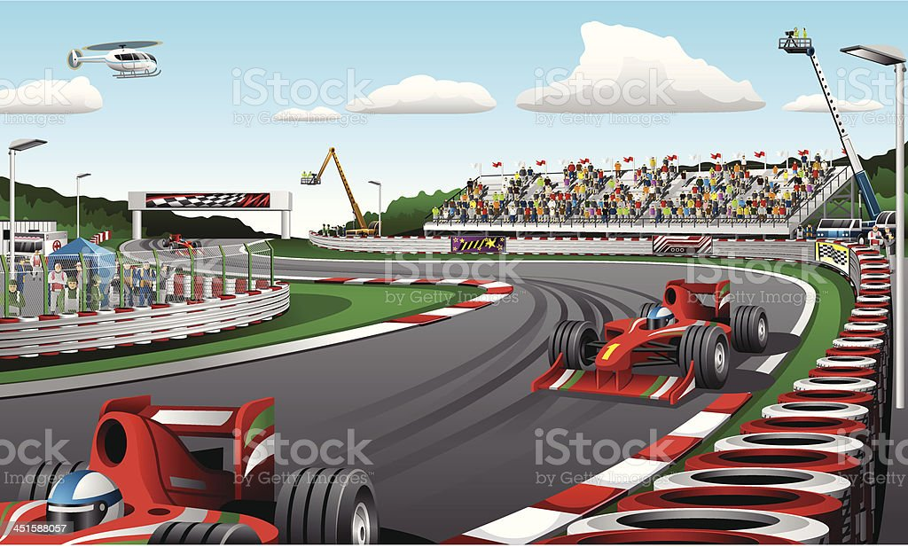 Formula one racing cars - Illustration vector art illustration