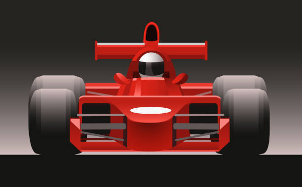 F1 Formula One Racing Icon Car Front View F1 Formula One Racing Icon Car, vector illustration cartoon. indy racing league indycar series stock illustrations