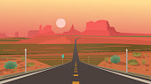 Highway in Monument Valley, Navajo Tribal Park. Vector illustration