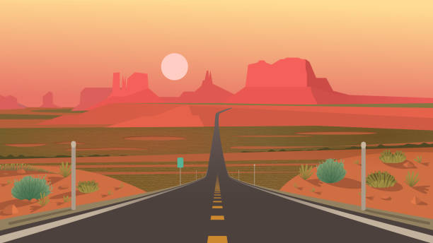 forrest gump point, monument valley, arizona. - desert stock illustrations