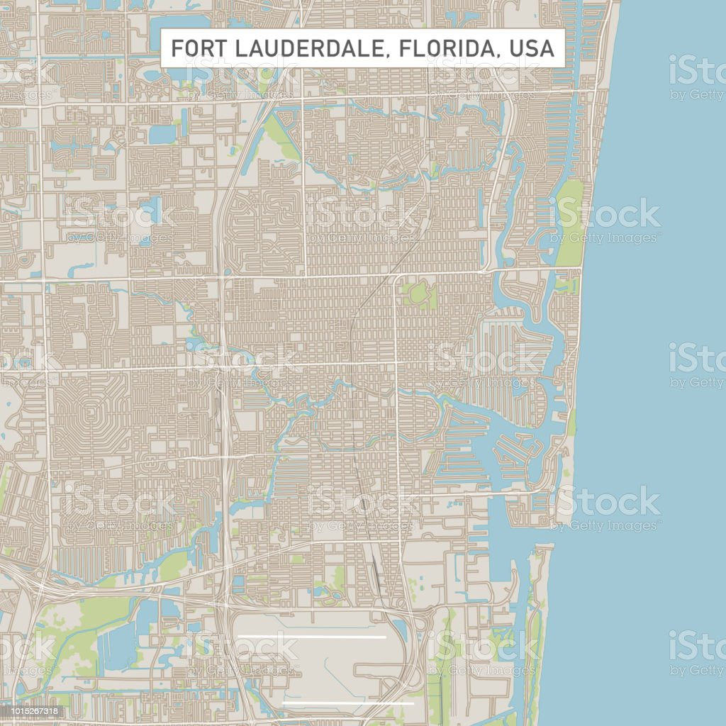 Ft Lauderdale On Map Of Florida.Fort Lauderdale Florida Us City Street Map Stock Illustration