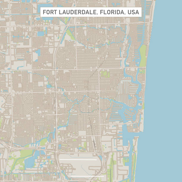 Fort Lauderdale Florida US City Street Map Vector Illustration of a City Street Map of Fort Lauderdale, Florida, USA. Scale 1:60,000. All source data is in the public domain. U.S. Geological Survey, US Topo Used Layers: USGS The National Map: National Hydrography Dataset (NHD) USGS The National Map: National Transportation Dataset (NTD) vector map green stock illustrations
