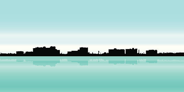 Fort Myers, Florida Skyline silhouette of Fort Myers, Florida. waterfront stock illustrations