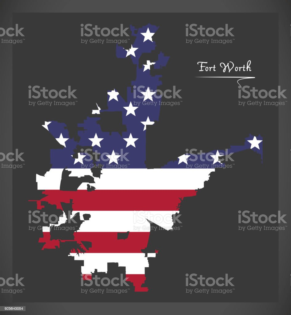Fort Worth Texas map with American national flag illustration vector art illustration