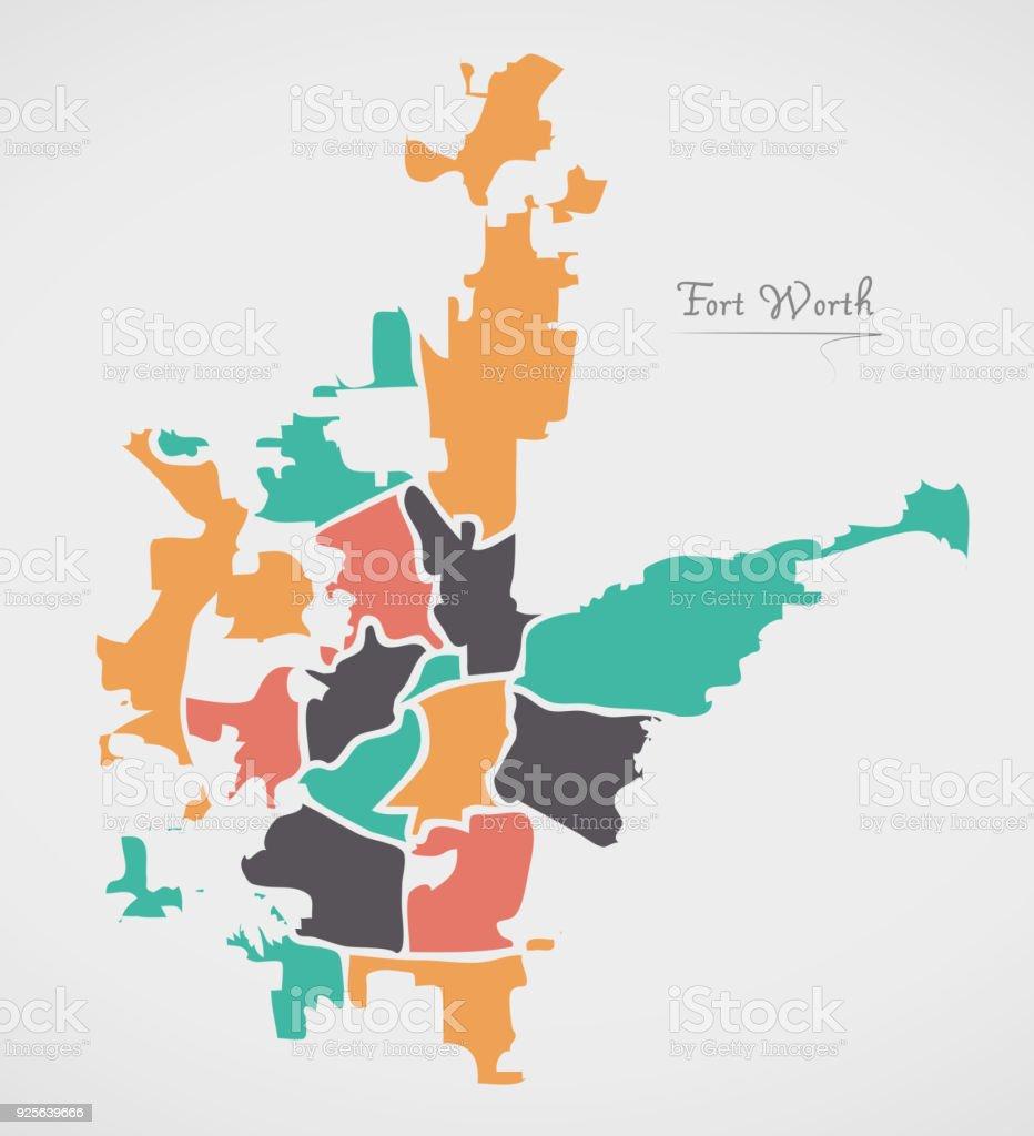 Fort Worth Texas Karte Mit Nachbarschaften Und Moderne Runde ...