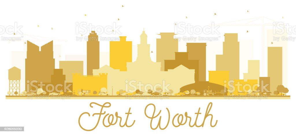 Fort Worth Texas USA City skyline Golden silhouette. vector art illustration