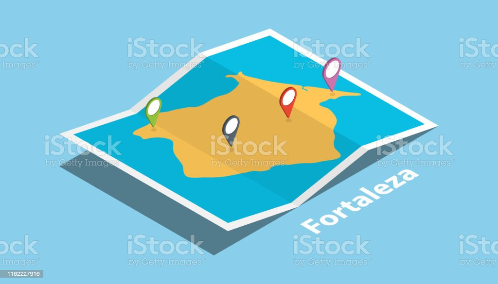 fortaleza brazil explore maps location with folded map and pin...