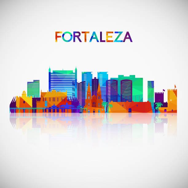 bildbanksillustrationer, clip art samt tecknat material och ikoner med fortaleza skyline siluett i färgglada geometriska stil. symbol för din design. vektorillustration. - fort