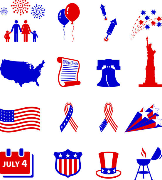 Forth of July celebration royalty free vector icon set Forth of July celebration icon set declaration of independence stock illustrations