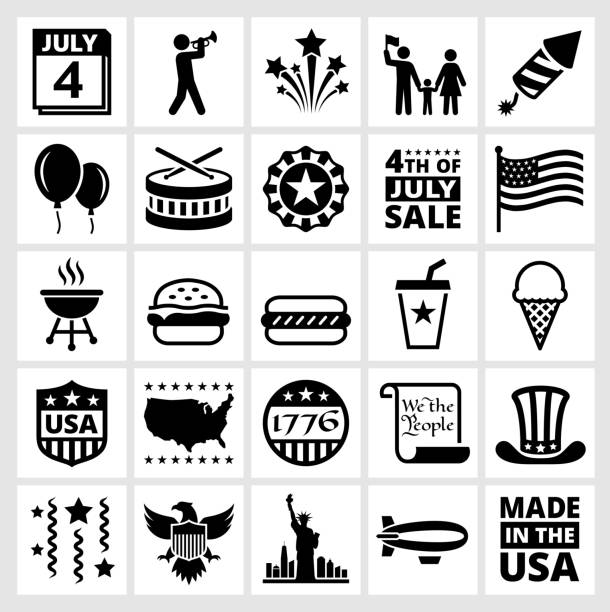 Forth of July Independence day celebration and summer holiday fun Forth of July Black and White Collection. The illustration features black vector icons on white background. App icons are elegant in design and have a modern graphic look and feel. Each icon is silhouetted and can be on it's own or as part of an icon set. declaration of independence stock illustrations