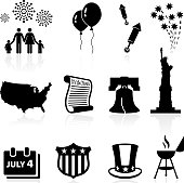 Independence Day, Fourth of July or July Fourth, is a US holiday commemorating the adoption of the Declaration of Independence on July 4, 1776. This vector icon set features 12 July 4th icons including fireworks, US map, Liberty bell, statue of liberty, declaration of independence and July fourth barbecue party icon.