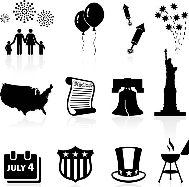 Forth of July Independence day celebration vector icon set Independence Day, Fourth of July or July Fourth, is a US holiday commemorating the adoption of the Declaration of Independence on July 4, 1776. This vector icon set features 12 July 4th icons including fireworks, US map, Liberty bell, statue of liberty, declaration of independence and July fourth barbecue party icon. declaration of independence stock illustrations