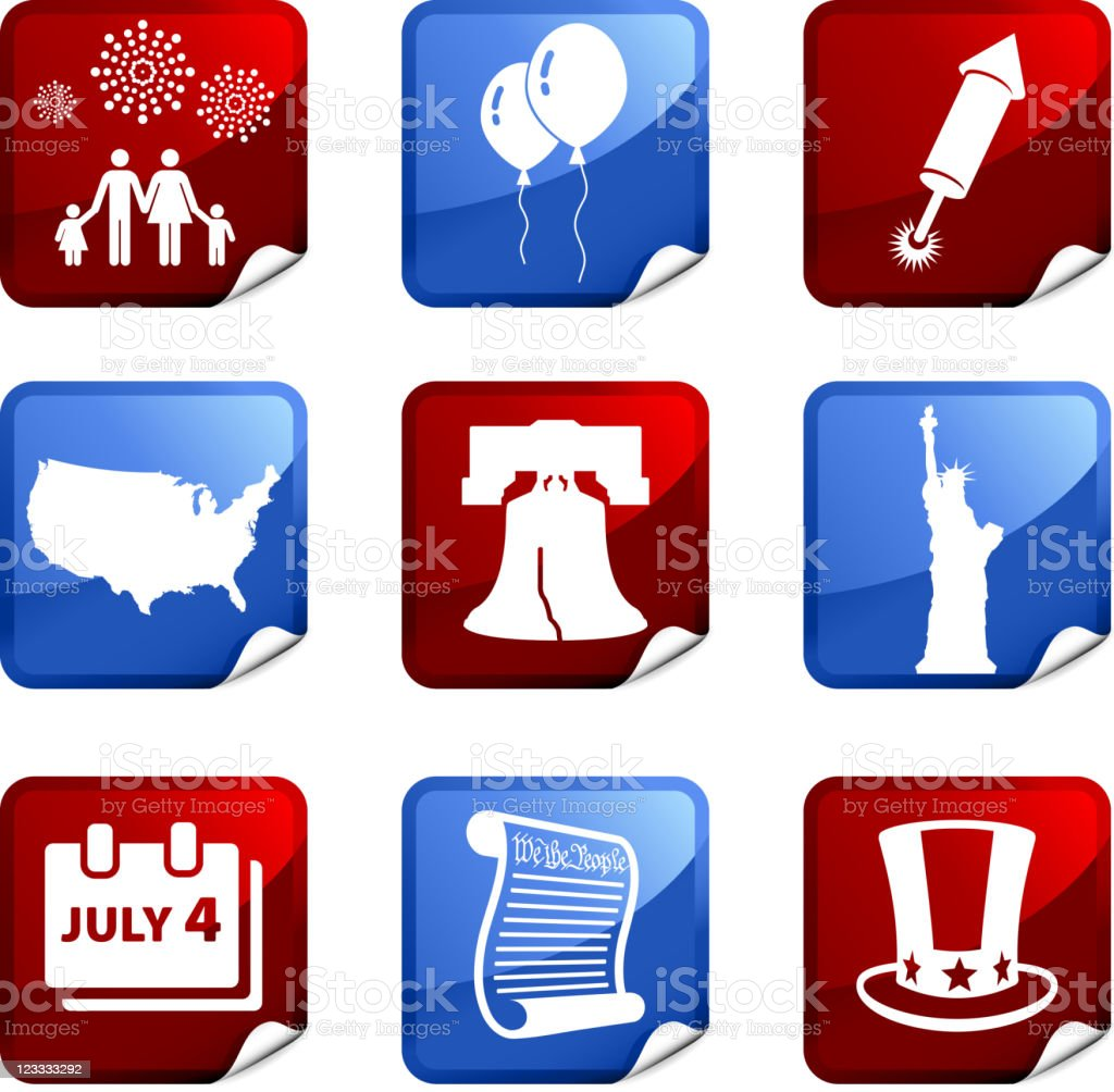 Forth of July royalty free vector icon set stickers vector art illustration