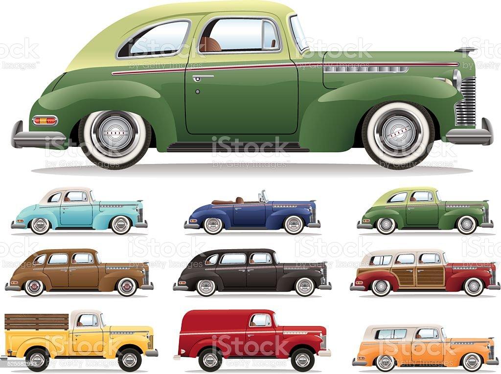 Forties Car Lineup vector art illustration