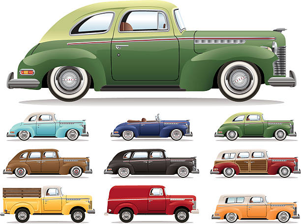 forties car lineup - 1940s style stock illustrations