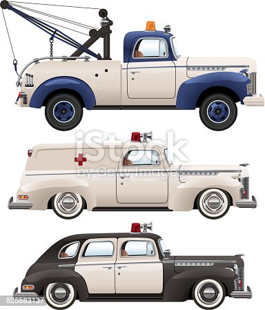 A vector drawing of emergency vehicles from the 1930s-1940s era.