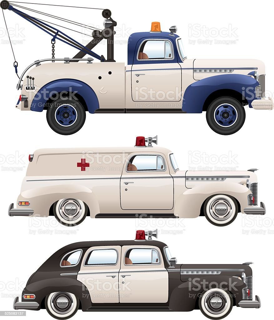 Forties Emergency Vehicles vector art illustration