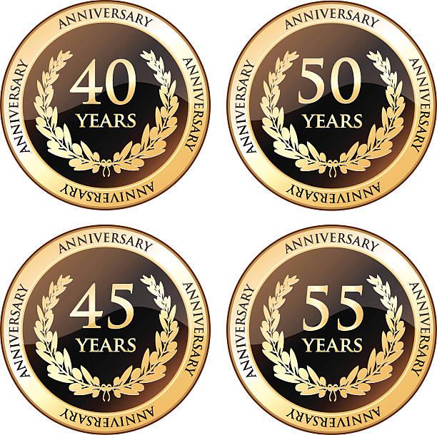 bildbanksillustrationer, clip art samt tecknat material och ikoner med fortieth and fiftieth anniversary awards - 55 59 år
