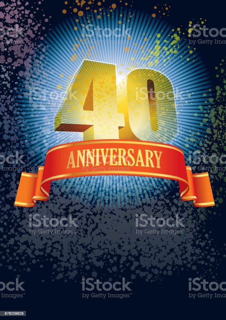 Fortieth anniversary vector art illustration