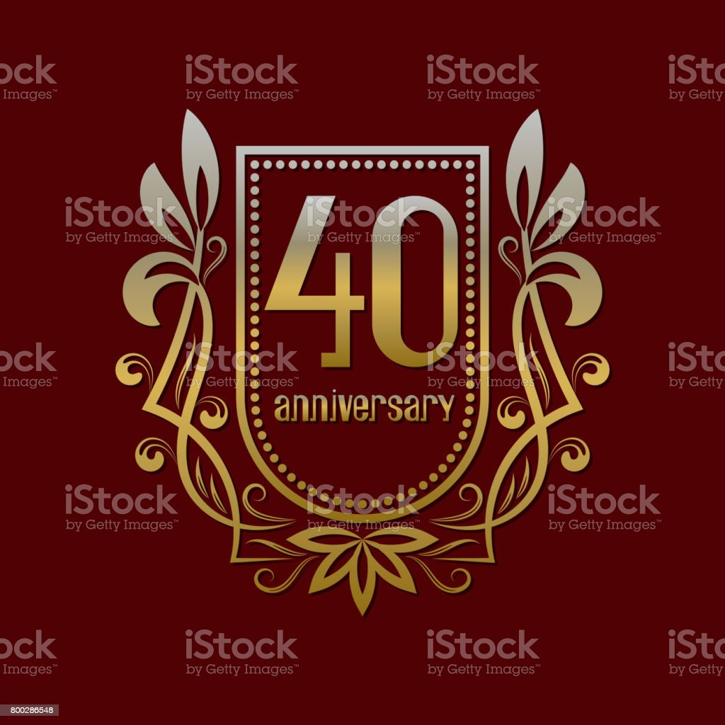Fortieth Anniversary Vintage Symbol Golden Emblem With Numbers On