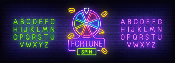 Fortune neon sign, bright signboard, light banner. Game spin logo. Neon sign creator. Neon text edit. Vector illustration Fortune neon sign, bright signboard, light banner. Game spin logo. Neon sign creator. Neon text edit. Vector illustration. bonus march stock illustrations