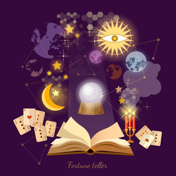 Fortune teller crystal ball in psychics magic book astrology vector art illustration