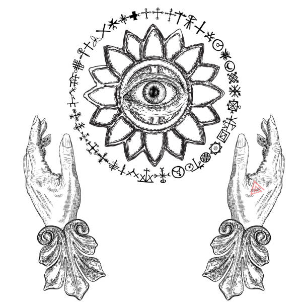 ilustrações de stock, clip art, desenhos animados e ícones de fortune teller hands or witch hands with all seeing eye. mystic and occult symbols. palmistry concept of spirituality, astrology and esoteric concept. magic black ink tattoo flash idea. vector - seitas
