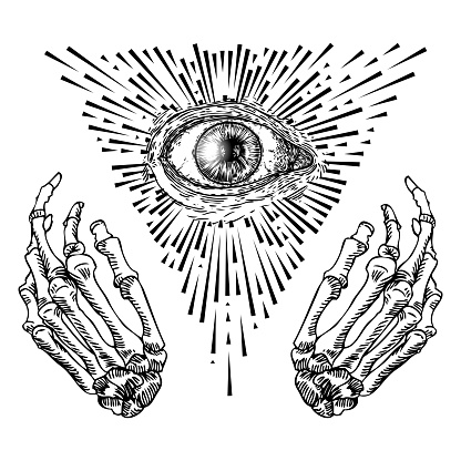 Fortune Teller hands or witch hands with all seeing eye. Mystic and occult symbols. Palmistry concept of spirituality, astrology and esoteric concept. Magic black ink tattoo flash idea. Vector
