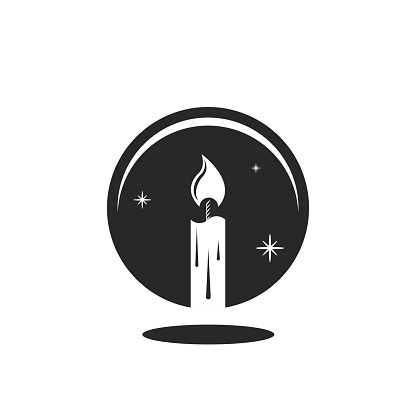 Fortune teller logo, reflection of a burning candle in a magic crystal ball, mystical illustration minimal style negative space mysterious symbol.