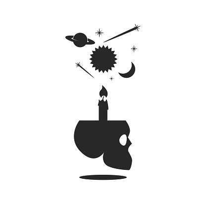 Fortune teller magical supplies human skull with candle, sun, Saturn, moon, comets mystical symbols, alchemy occult illustration black and white gothic minimal style.