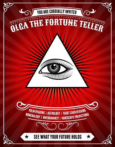 Fortune Teller Poster on Red Background
