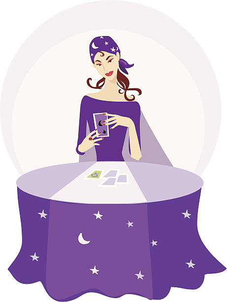 Fortune teller reading tarot cards and astrology Illustration of a fortune teller reading tarot cards. new age music stock illustrations