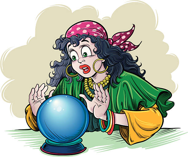 fortune teller - zigeunerleben stock-grafiken, -clipart, -cartoons und -symbole