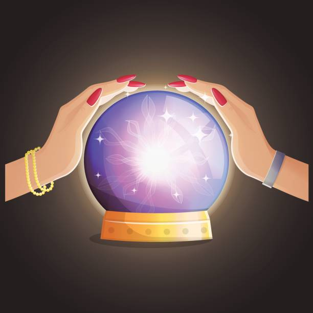 wahrsagerin mit einer magischen glänzende kugel. - geistergeschichten stock-grafiken, -clipart, -cartoons und -symbole